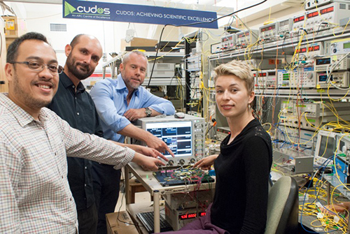 David Marpaung, Christopher Poulton, Benjamin Eggleton and Irina Kabakova in the CUDOS lab