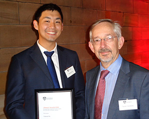 Dr Tomonori Hu with Professor Trevor Hambley, Dean of Science at The University of Sydney